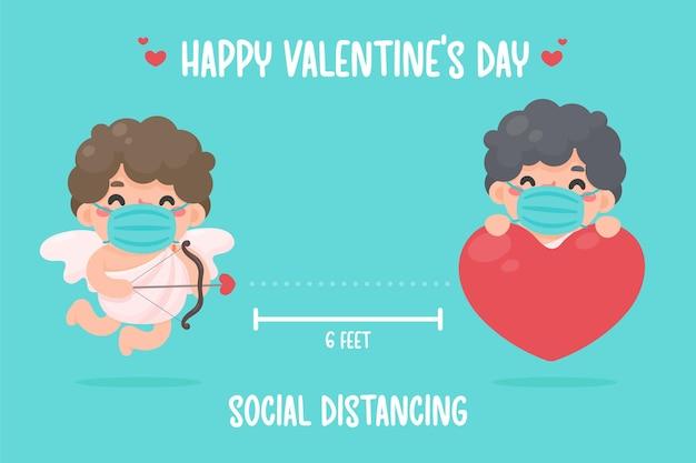 Cupid hielt einen bogen und zeigte mit einem pfeil auf das herz. soziale raumideen zum valentinstag