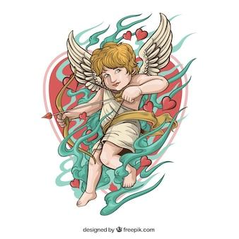 Cupid illustration mit bogen und datum