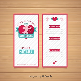Cupid silhouette valentine menüvorlage