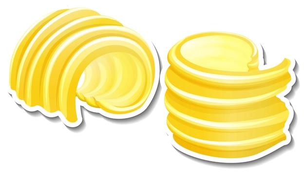 Curl butter sticker auf weißem hintergrund