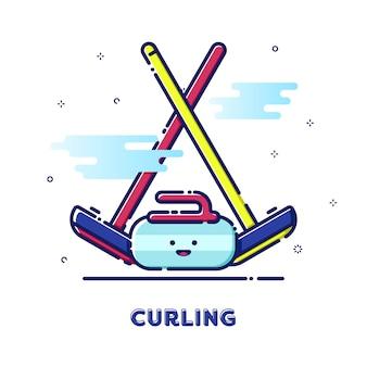 Curling sport illustration