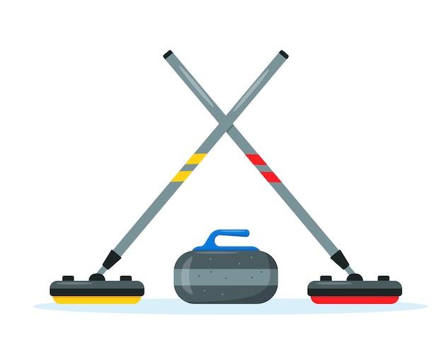 Curlingbesen und steinset. wintereis sportausrüstung