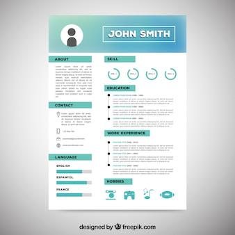 Curriculum-vorlage mit icons und grafiken