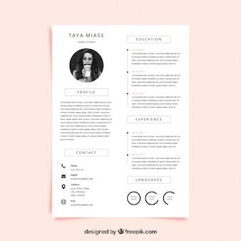 Curriculum vorlage mit minimalistischen stil
