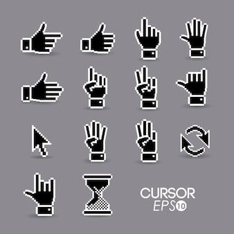 Cursor-konzept in der form der hand-, pfeil- und sanduhrform