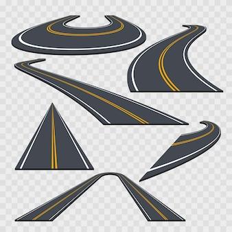 Curve road set mit unterschiedlicher perspektive