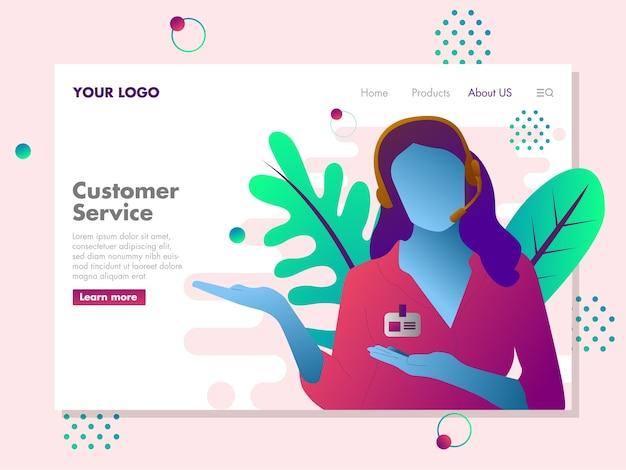 Customer service illustration für die zielseite
