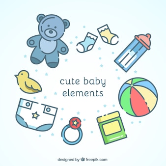 Cute baby-elemente in flaches design