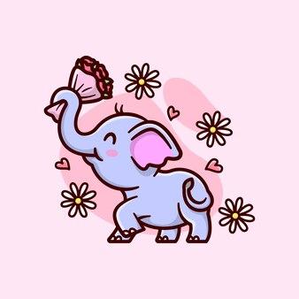 Cute baby elephant bringen einen eimer blume und fühlen sich schön