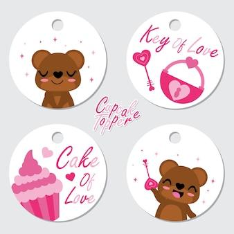 Cute bär, cupcake und liebe schlüssel