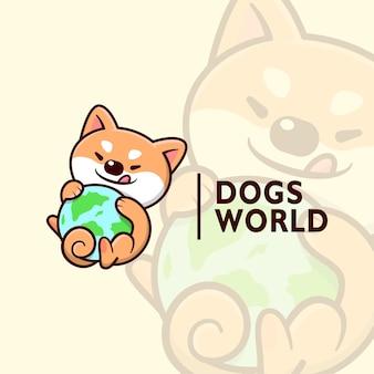 Cute chiba dog smiling und holding earth cartoon logo