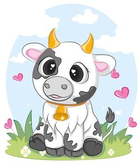 Cute cows charakter in verschiedenen posen. illustration einer niedlichen kuh sitzt.
