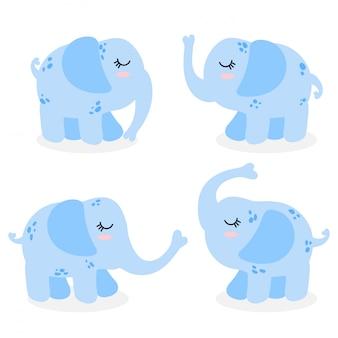 Cute elephant cartoon doodle vector sammlungssatz