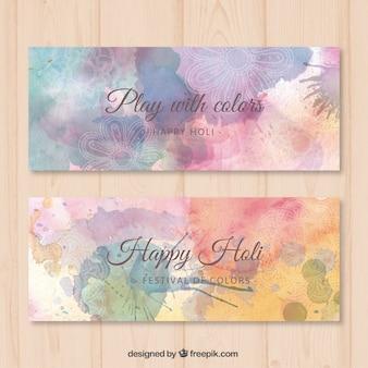 Cute floral glückliche holi banner