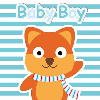 Cute fox auf blau gestreiften hintergrund vektor-cartoon, baby-dusche postkarte, wallpaper und grußkarte, t-shirt-design für kinder vektor-illustration