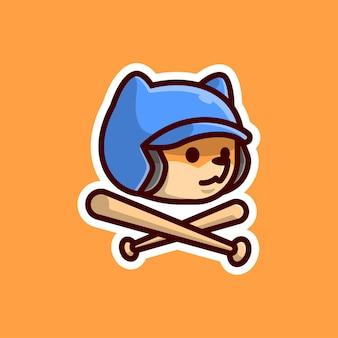 Cute fox wearing baseball helm cartoon mascot