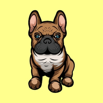 Cute french puppy dog illustration mascot