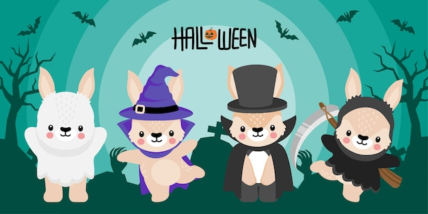 Cute halloween rabbit bunny cartoon doodle nahtloses muster illustration