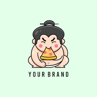 Cute japanese sumo essen pizza logo