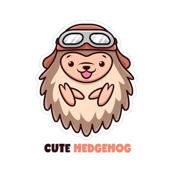 Cute little hedgehog lächeln und tragen pilot helm
