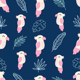 Cute parrot tropical summer nahtloses muster
