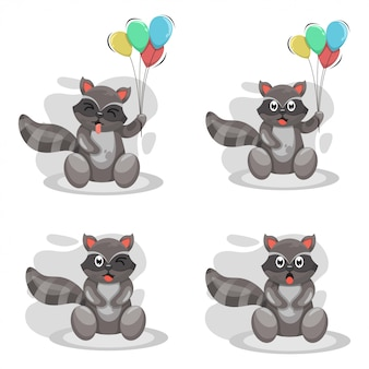 Cute raccoon mascot cartoon vector