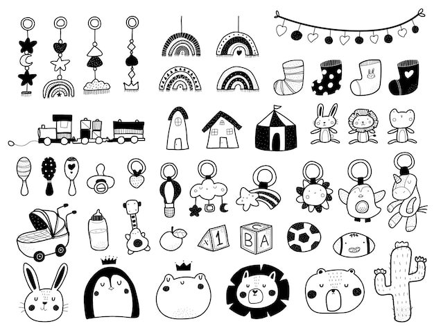 Cute scandinavian style baby shower doodle elements