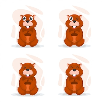 Cute squirrel mascot cartoon vector