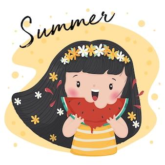 Cute tan mädchen mit blume rosenkranz essen wassermelone im sommer