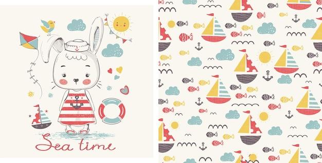 Cuterabbit seemanncartoon handgezeichnete vektorillustration kann für baby-t-shirt-druck verwendet werden