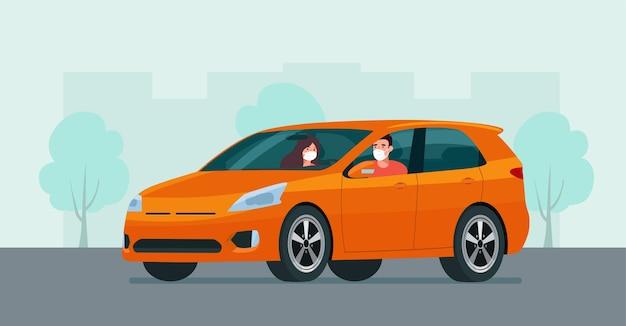 Cuv-auto mit einem jungen mann und einer jungen frau in einer medizinischen maske, die auf einem hintergrund des abstrakten stadtbildes fährt.