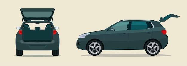 Cuv auto mit offenem kofferraum. seiten- und rückansicht.
