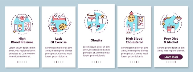 Cvd führt zum onboarding des bildschirms der mobilen app mit konzepten. hoher blutdruck, schlechte ernährung walkthrough 5 schritte grafische anweisungen. ui-vektorvorlage mit rgb-farbabbildungen