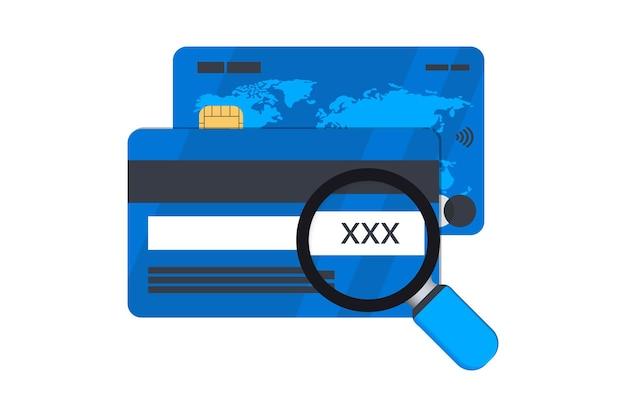 Cvv-code mit kreditkarte und lupe. cvv-bankkarte unter der lupe, cvv-code-symbol kreditkarte und lupe eingeben, lebenslauf-nummern
