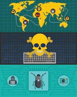 Cyber-angriff welt hintergrund