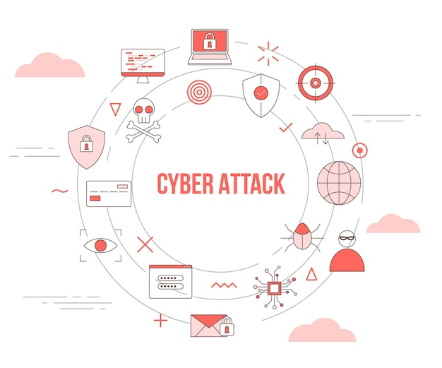 Cyber-angriffskonzept mit icon-set-vorlagenbanner mit modernem orangefarbenem farbstil und kreisförmiger runder formillustration