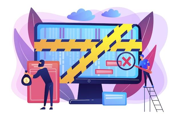 Cyber attacke. strafverfolgung. krimineller, der online geld stiehlt. computerforensik, digitale forensik, konzept zur untersuchung von computerkriminalität.