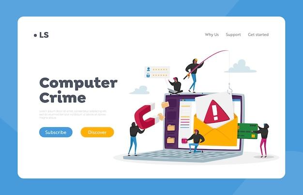 Cyber crime, passwort phishing landing page vorlage. hacker bulgar stehlen persönliche daten