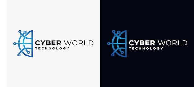 Cyber earth-logo cyber-sicherheitstechnologie-logo technologie-erde-konzept
