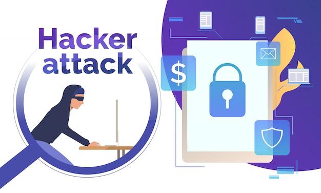 Cyber-einbrecher, der in gerät hackt