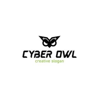 Cyber-eule mit modernem und urbanblack-logo auf weißem hintergrund
