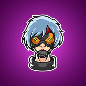 Cyber girl kopf maskottchen logo