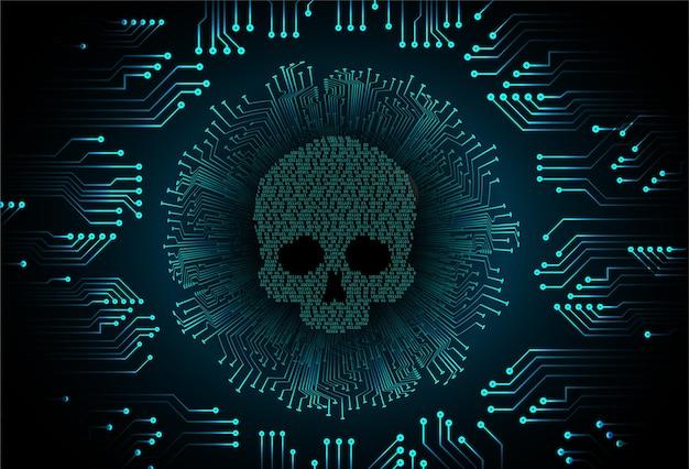 Cyber-hacker-angriff hintergrund schädel vektor Premium Vektoren