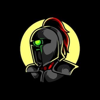 Cyber knight e sport maskottchen logo