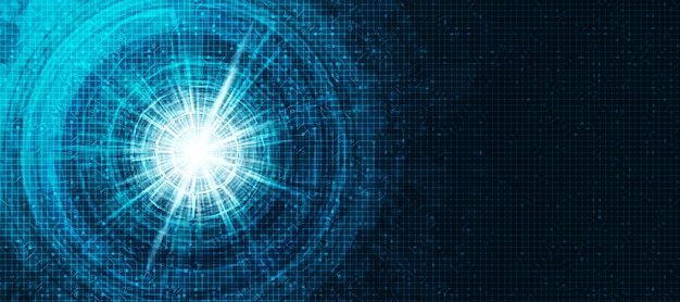 Cyber light eye digital futuristisch auf circuit network technology banner, zukunft und ki-konzept