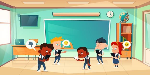 Cyber-mobbing in der schule, konflikte und gewalt