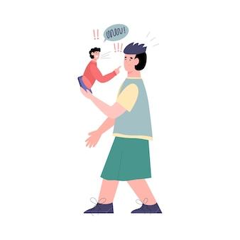 Cyber-mobbing-konzept mit mann, der telefon hält