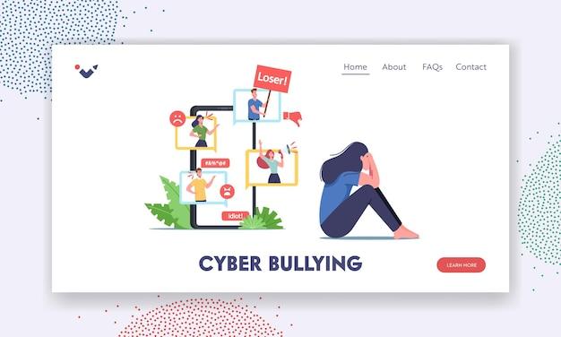 Cyber-mobbing, social attack, bully hate landing page template. teenager-charakter weint vor dem smartphone-bildschirm, nachdem er gemobbt und über das internet böse namen genannt wurde. cartoon-vektor-illustration