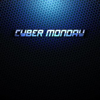 Cyber monday 3d metallic text design template technologie abstrakter hintergrund