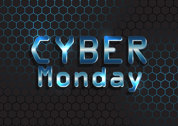 Cyber monday banner mit metallischem text auf sechseckigem muster